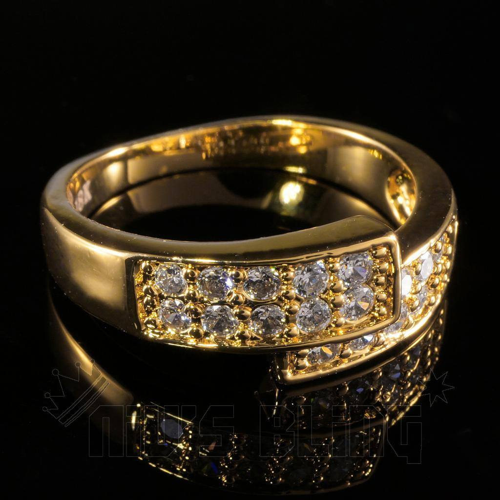 Affordable 18K Gold Iced Out Engagement Band Pinky Ring - Black Background
