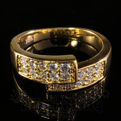 Affordable 18K Gold Iced Out Engagement Band Pinky Ring - Front View