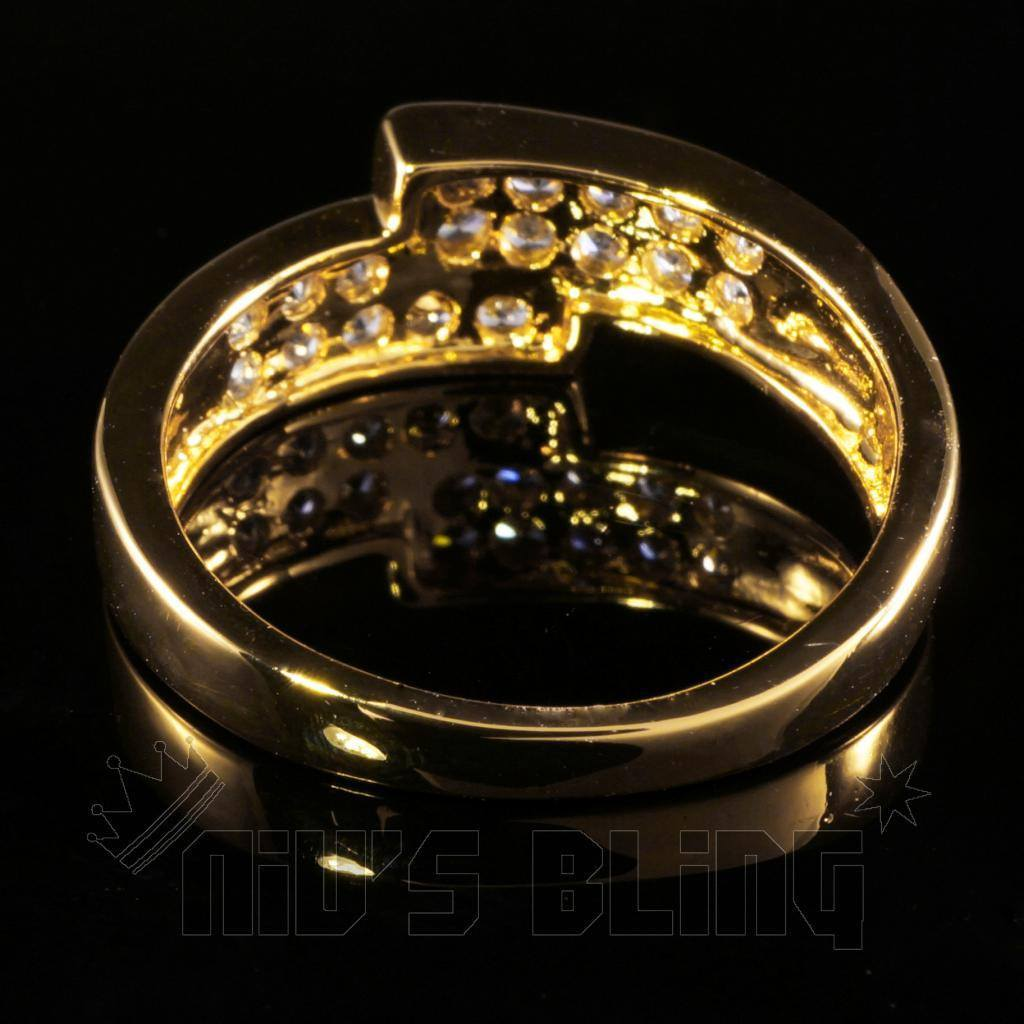 Affordable 18K Gold Iced Out Engagement Band Pinky Ring - Back View