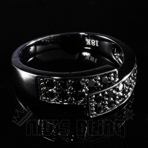 Rings - 18K Black Gold Iced Out Engagement Band Pinky Ring
