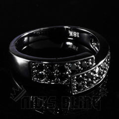 18K Black Gold Iced Out Engagement Band Pinky Ring