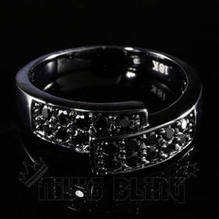 Affordable 18K Black Gold Iced Out Engagement Band Pinky Ring - Front View