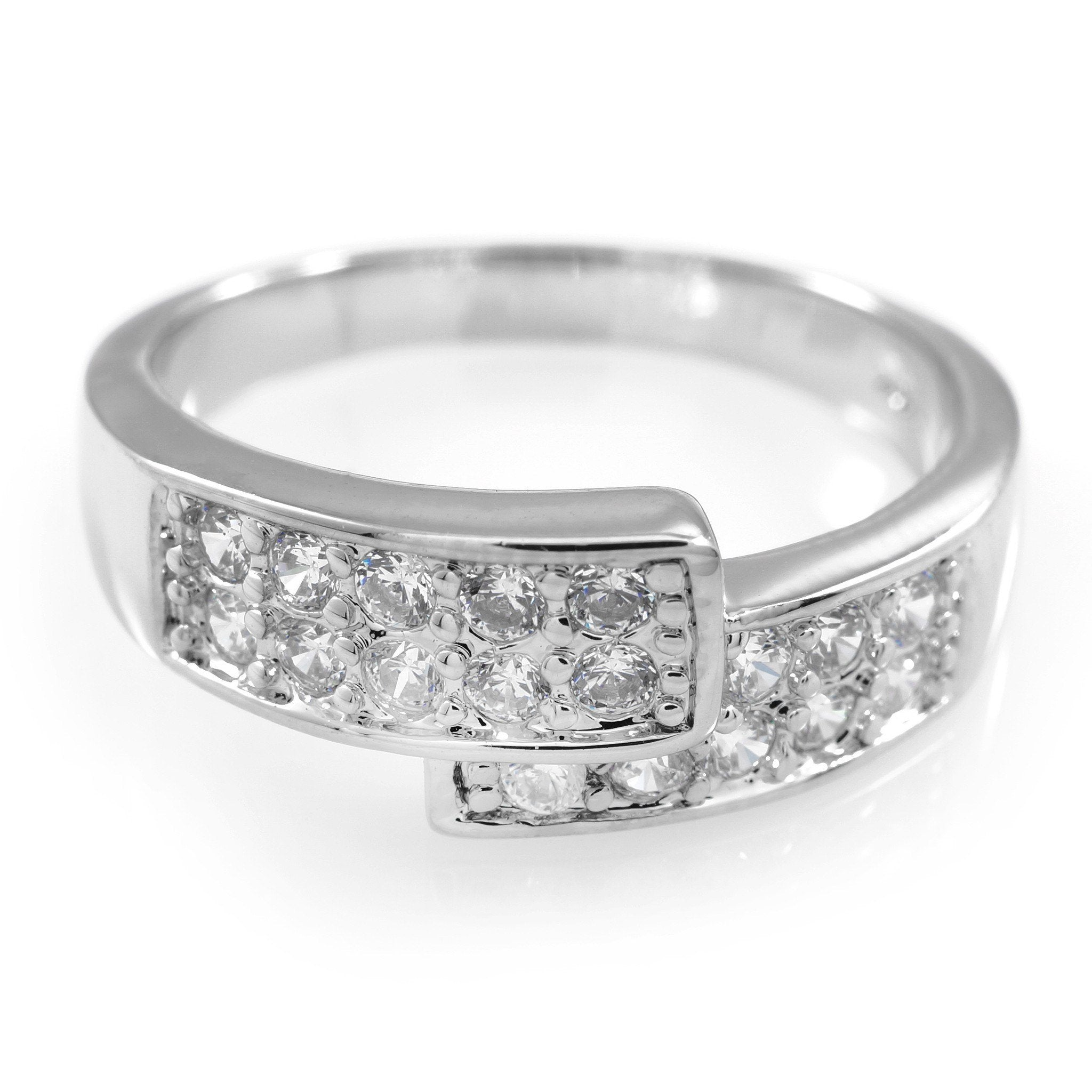 Affordable 18K White Gold Iced Out Engagement Band Pinky Ring - White Background