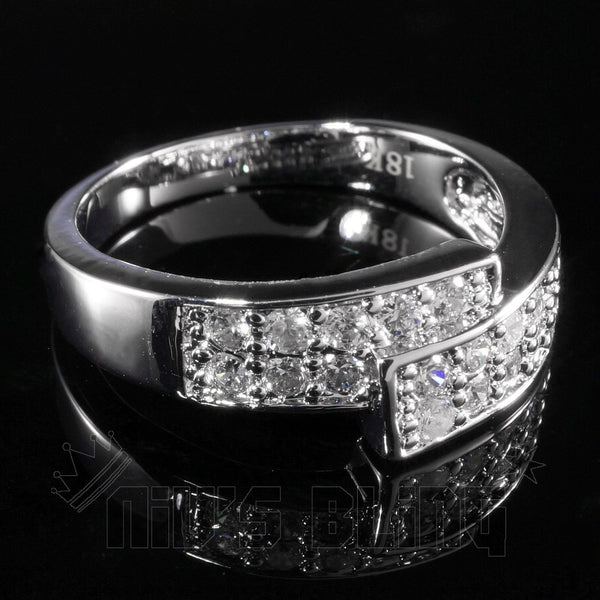 18k White Gold Iced Out Engagement Band Pinky Ring Niv S