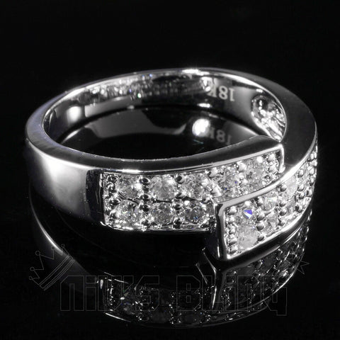 Affordable 18K White Gold Iced Out Engagement Band Pinky Ring - Black Background