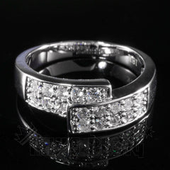 Affordable 18K White Gold Iced Out Engagement Band Pinky Ring - Front View