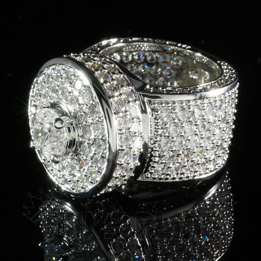 18K White Gold Iced Out CZ Micro Pavé Ring