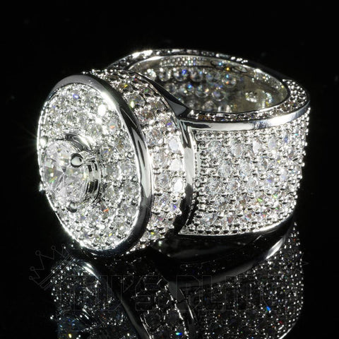 Affordable 18K White Gold Iced Out CZ Micro Pavé Hip Hop Ring - Black Background
