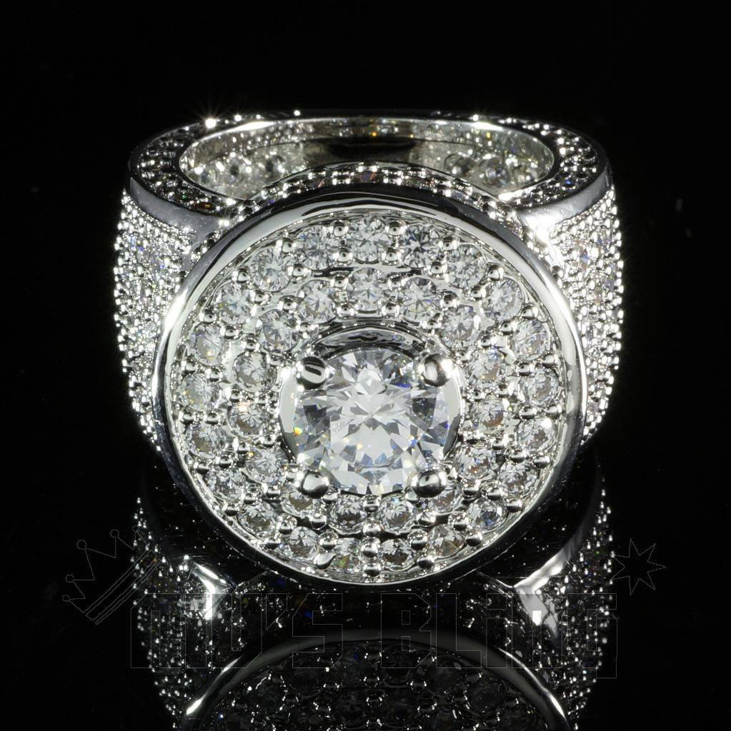 Rings - 18K White Gold Iced Out CZ Micro Pavé Ring