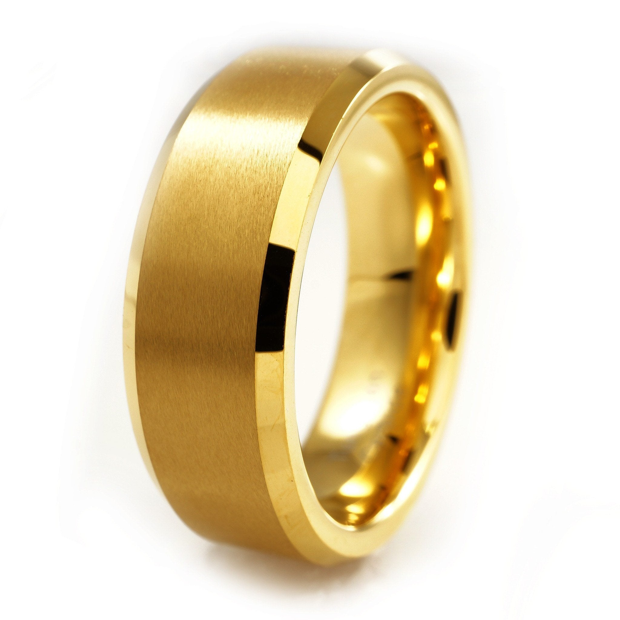 Affordable 18K Gold Tungsten Carbide Ring 8MM - White Background