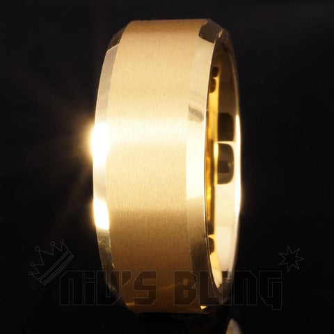 Affordable 18K Gold Tungsten Carbide Ring 8MM - Black Background