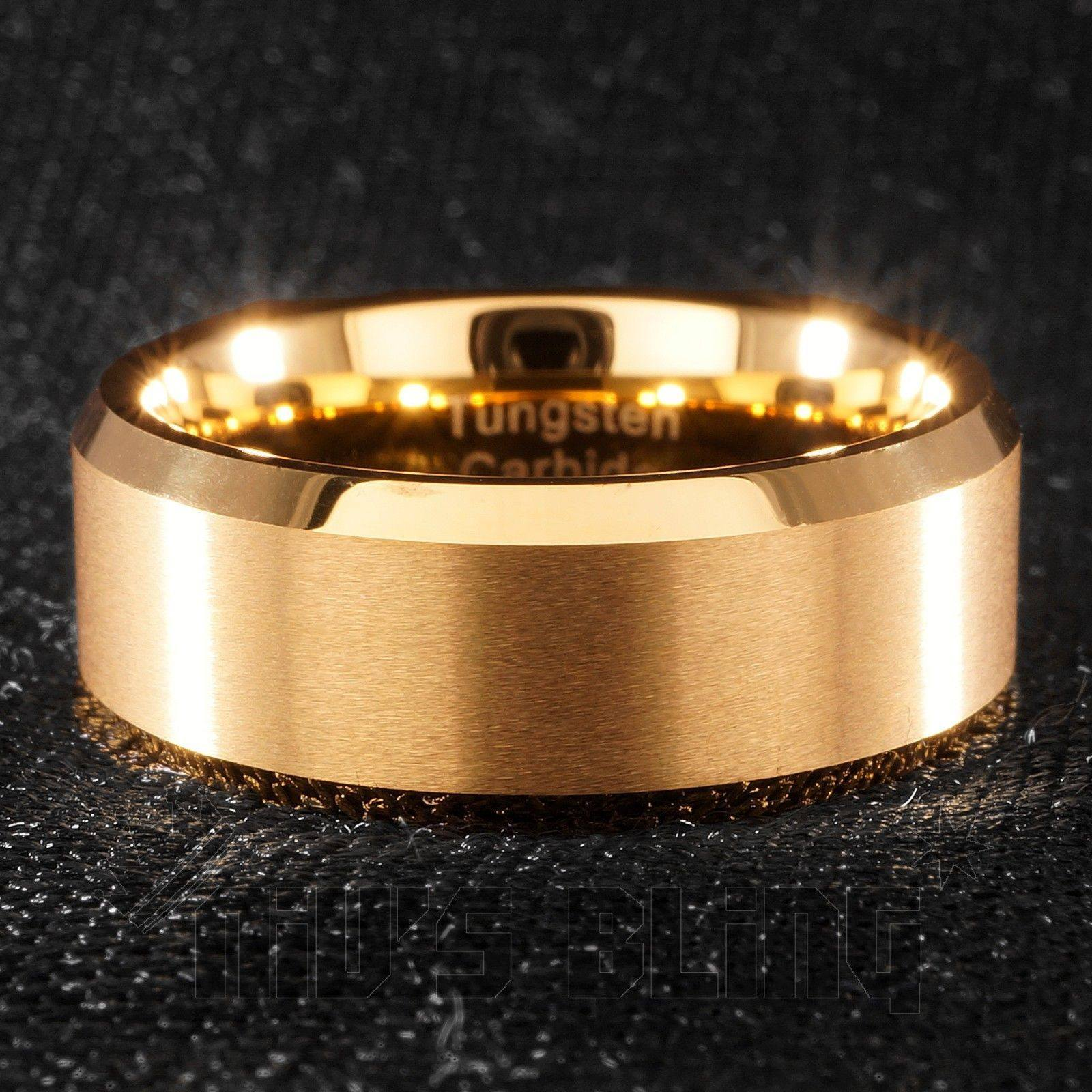 Affordable 18K Gold Tungsten Carbide Ring 8MM - Front View