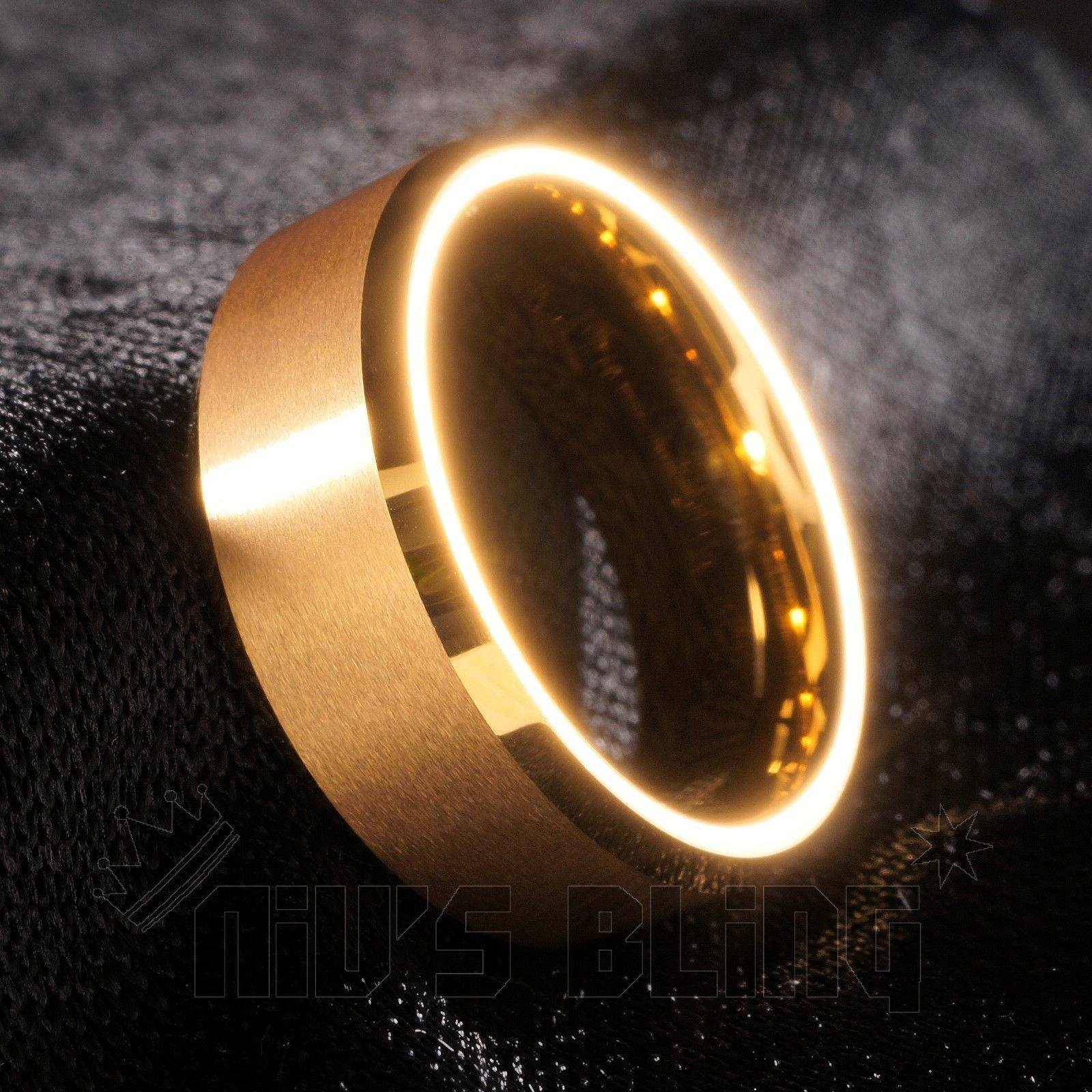 Affordable 18K Gold Tungsten Carbide Ring 8MM - Tilted Side View