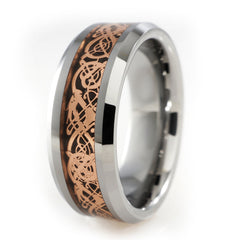 Affordable Rose Gold Celtic Dragon Tungsten Carbide Ring 8MM - White Bakground