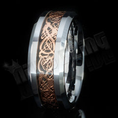 Rose Gold Celtic Dragon Tungsten Carbide Ring 8MM