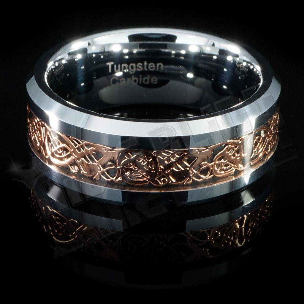 Affordable Rose Gold Celtic Dragon Tungsten Carbide Ring 8MM - Front View