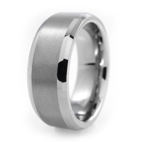 Affordable Silver Brushed Tungsten Carbide Ring 8MM - White Background