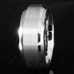 Affordable Silver Brushed Tungsten Carbide Ring 8MM - Black Background