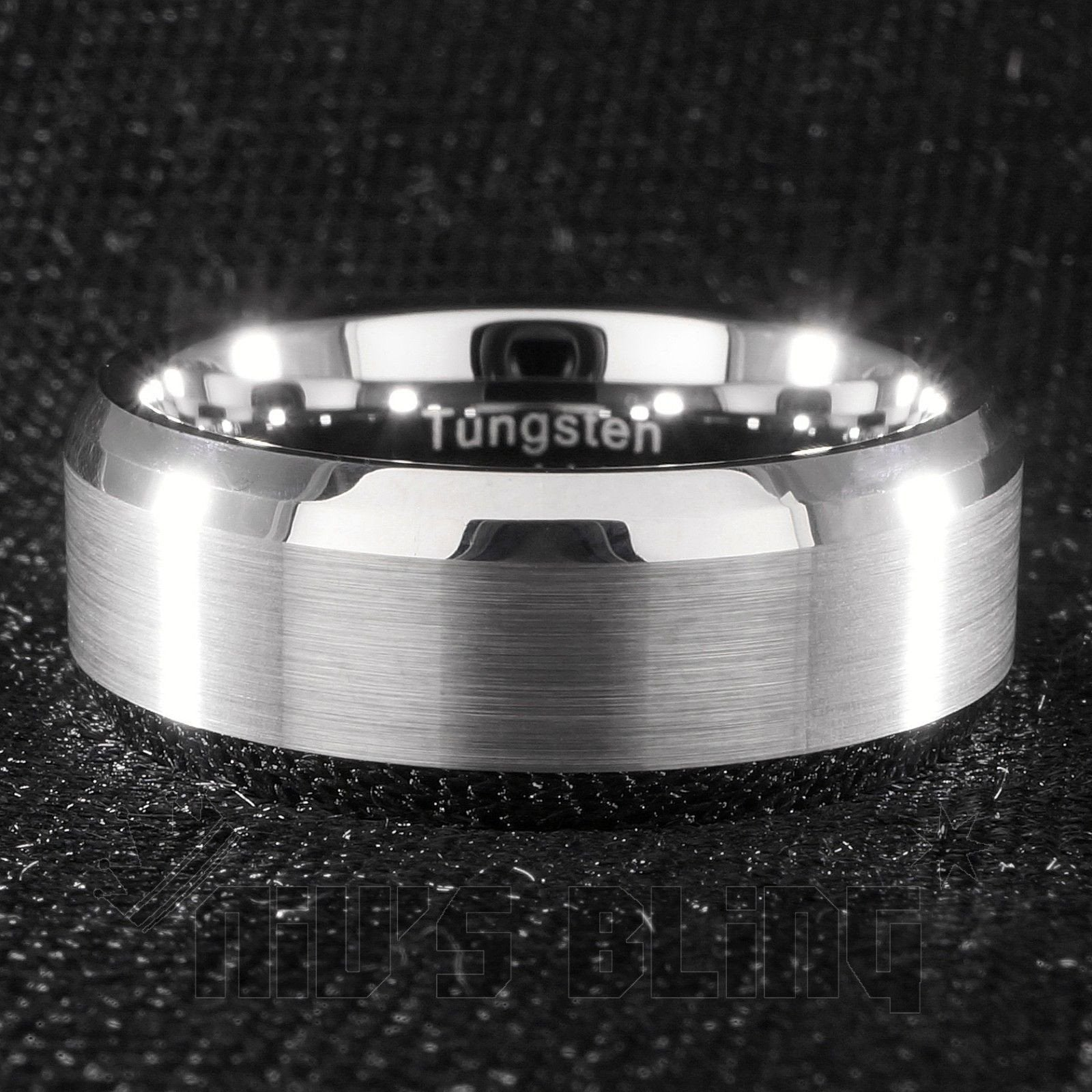 Affordable Silver Brushed Tungsten Carbide Ring 8MM - Front View