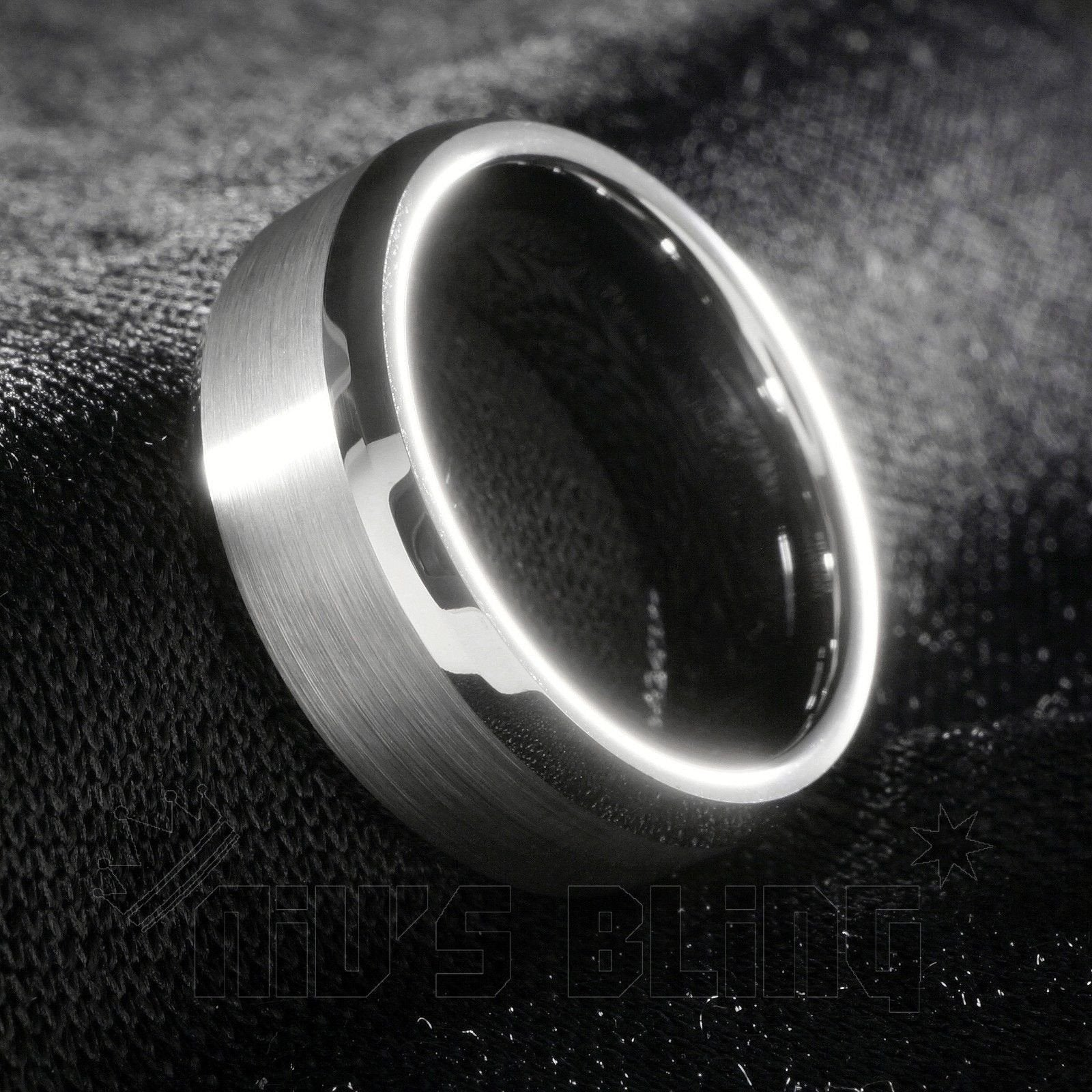 Affordable Silver Brushed Tungsten Carbide Ring 8MM - Tilted Side View