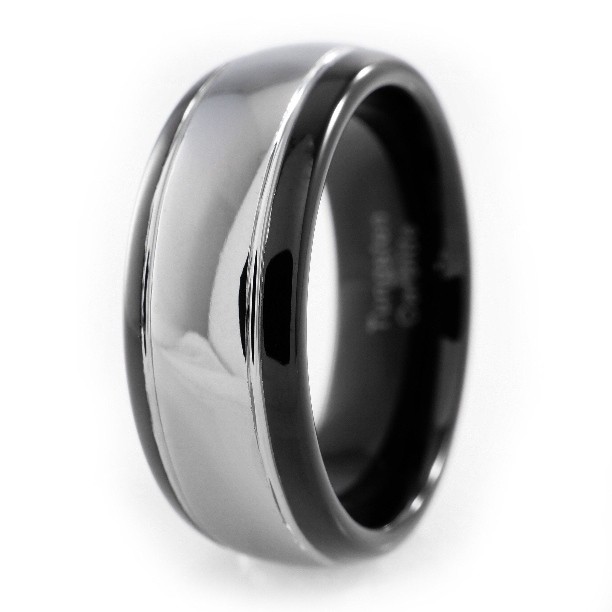 Affordable Black Silver Dome Tungsten Carbide Ring 8MM - White Background