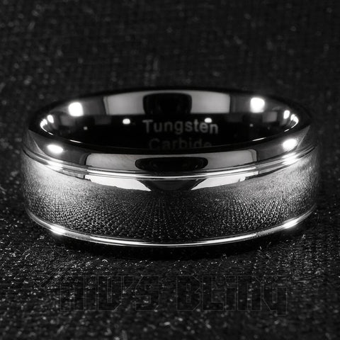 Rings - Black Silver Dome Tungsten Carbide Ring 8MM