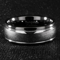 Affordable Black Silver Dome Tungsten Carbide Ring 8MM - Black Background