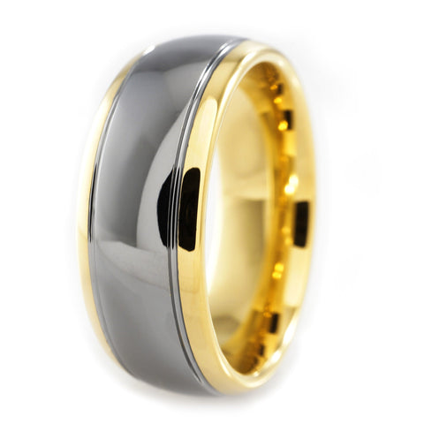 Affordable 18K Gold Silver Dome Tungsten Carbide Ring 8MM - White Background