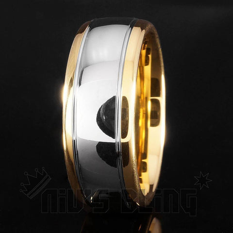 Affordable 18K Gold Silver Dome Tungsten Carbide Ring 8MM - Black Background