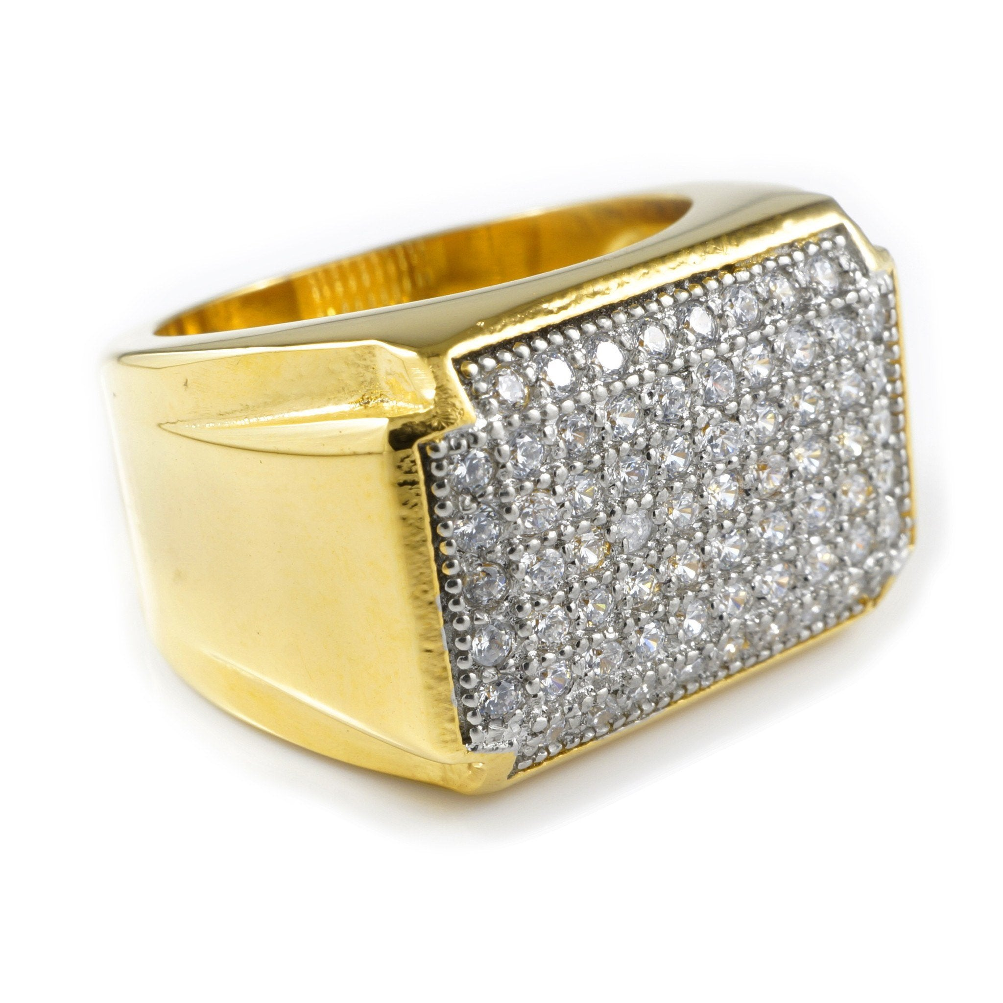 Affordable 18k Gold Iced Out Stainless Steel Rectangle Hip Hop Ring - White Background