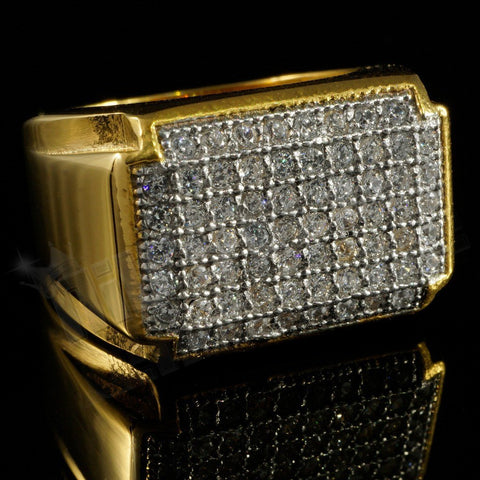 Rings - 18k Gold Iced Out Stainless Steel Rectangle Ring