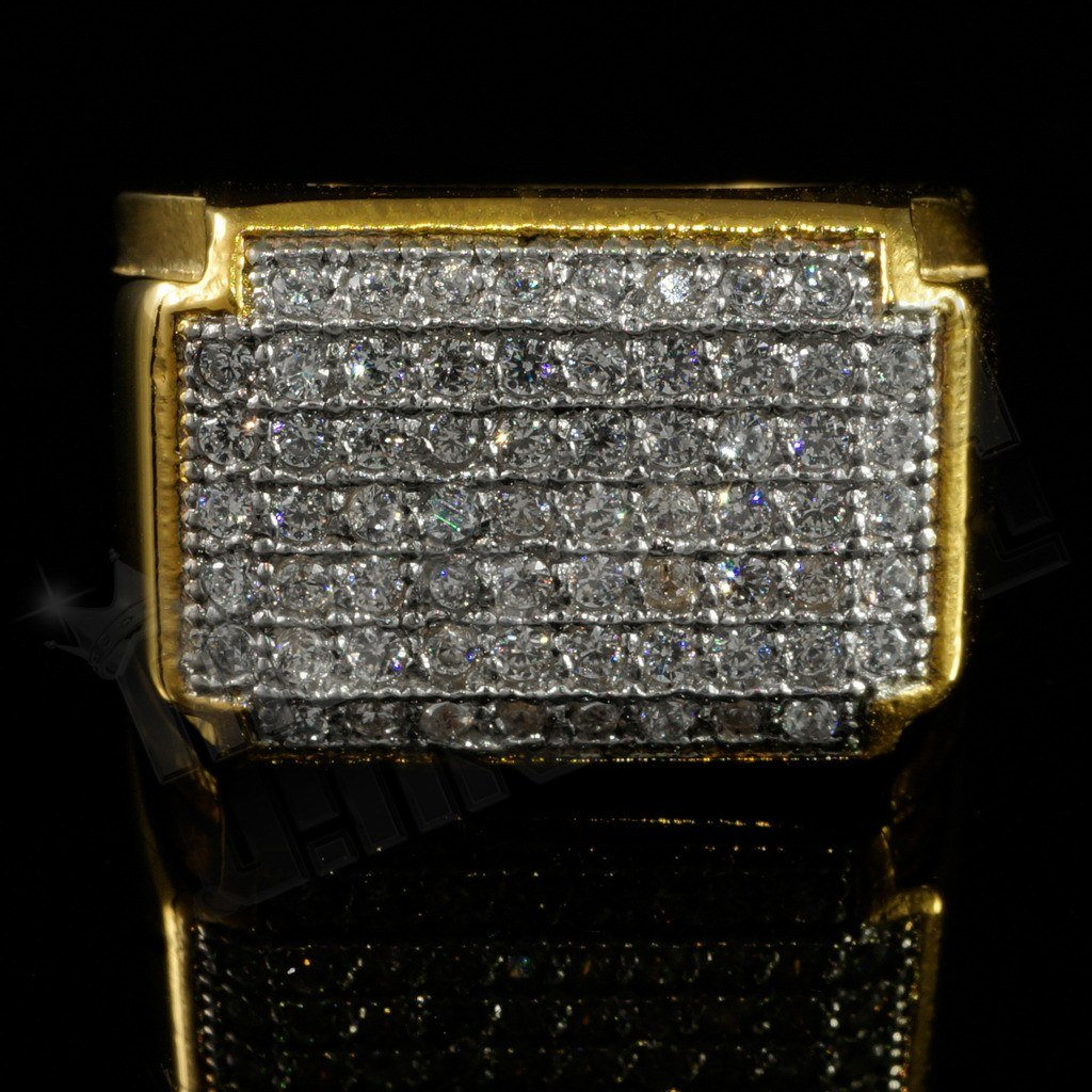18k Gold Iced Stainless Steel Rectangle Ring