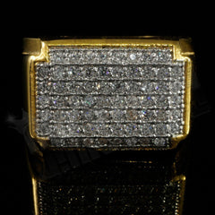 Affordable 18k Gold Iced Out Stainless Steel Rectangle Hip Hop Ring - Front View