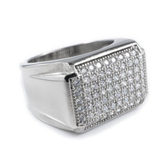 Affordable 18k White Gold Iced Out Stainless Steel Rectangle Hip Hop Ring - White Background