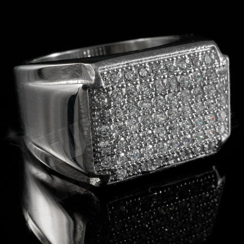 Affordable 18k White Gold Iced Out Stainless Steel Rectangle Hip Hop Ring - Black Background