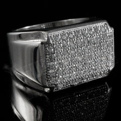 18k White Gold Iced Stainless Steel Rectangle Ring