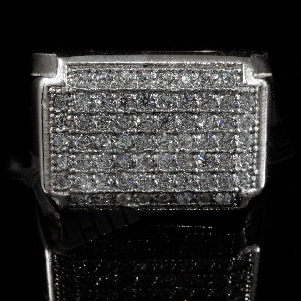 Affordable 18k White Gold Iced Out Stainless Steel Rectangle Hip Hop Ring - Front View