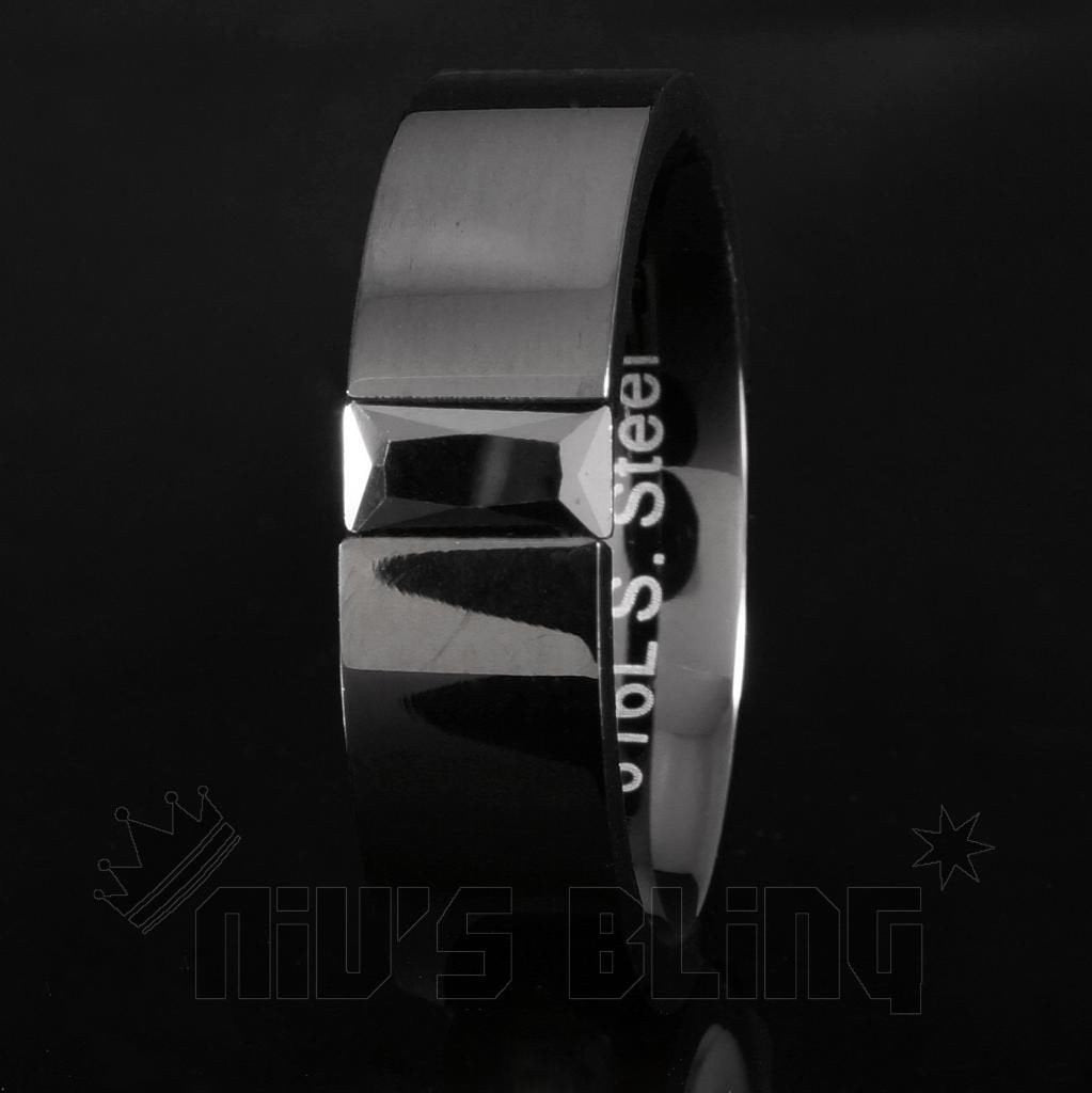 Affordable 6mm Stainless Steel Rectangular Wedding Ring - Black Background