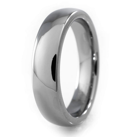 Affordable Tungsten Carbide Silver Polished Wedding Ring - White Background
