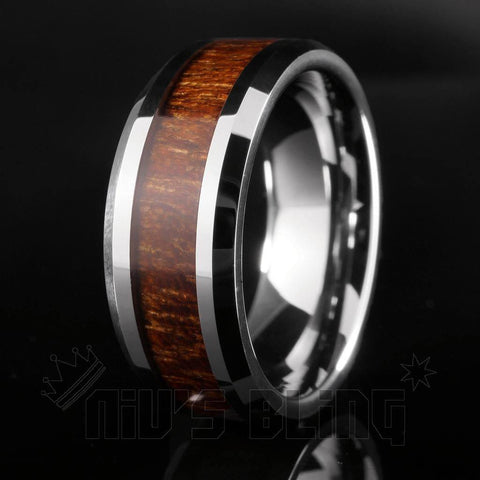 Affordable Wood Inlay Silver Tungsten Carbide Ring 8MM - Black Background