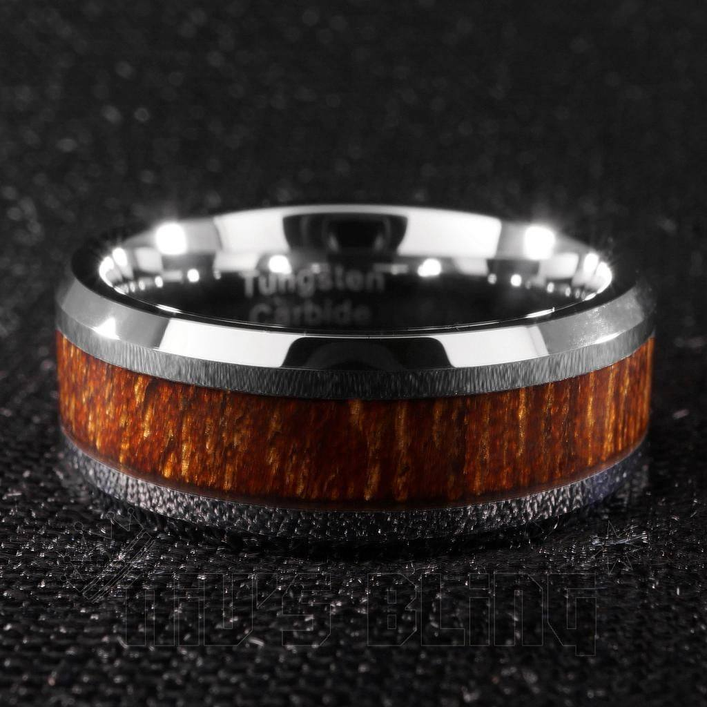 Affordable Wood Inlay Silver Tungsten Carbide Ring 8MM - Front View