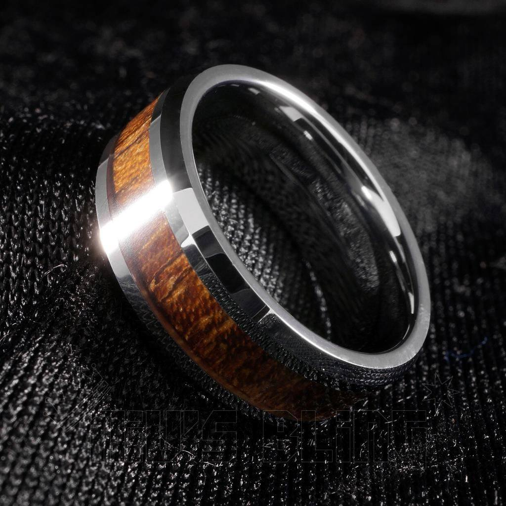 Affordable Wood Inlay Silver Tungsten Carbide Ring 8MM - Tilted Side View
