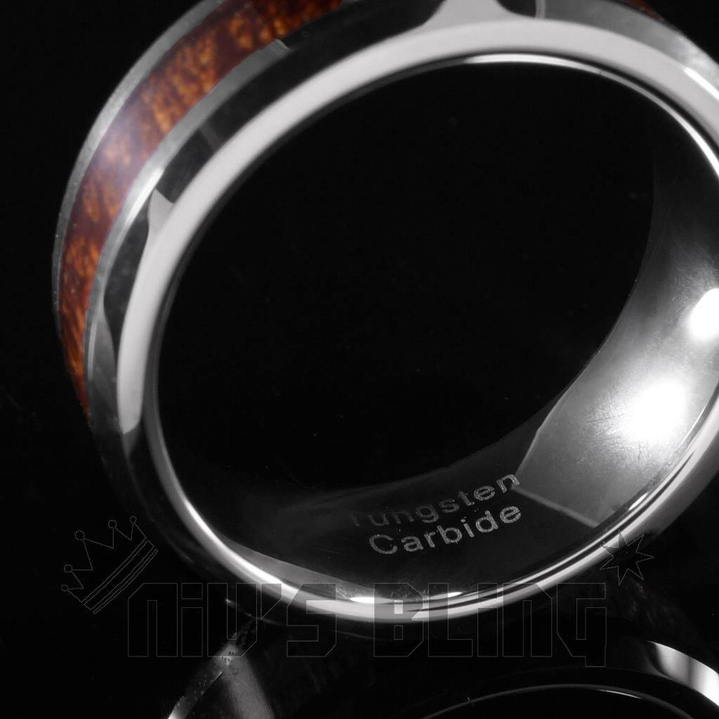 Affordable Wood Inlay Silver Tungsten Carbide Ring 8MM - Side View