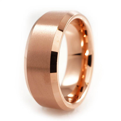 Affordable Rose Gold Tungsten Carbide Ring 8MM - White Background