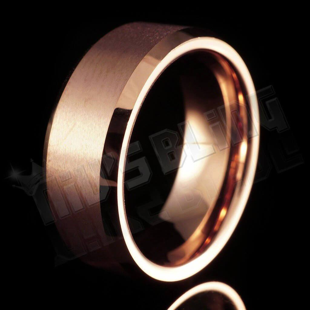 Affordable Rose Gold Tungsten Carbide Ring 8MM - Black Background