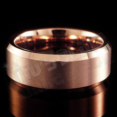Affordable Rose Gold Tungsten Carbide Ring 8MM - Front View