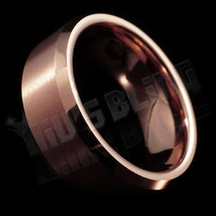 Affordable Rose Gold Tungsten Carbide Ring 8MM - Tilted Side View