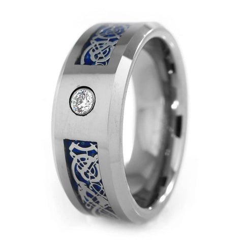 Affordable Silver Celtic Dragon Blue Carbon Fiber Tungsten Carbide Ring 8MM - White Background