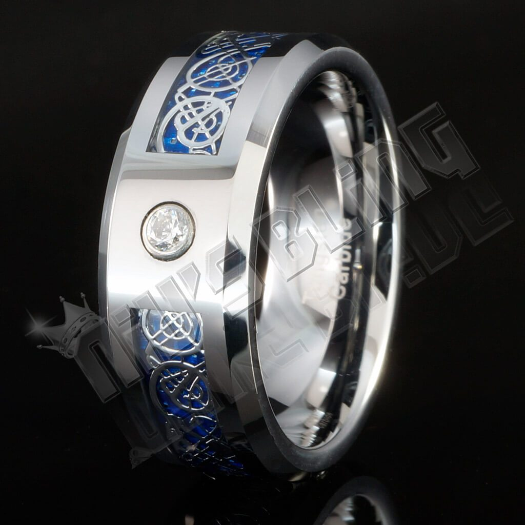 Silver Celtic Dragon Blue Carbon Fiber Tungsten Carbide Ring 8MM