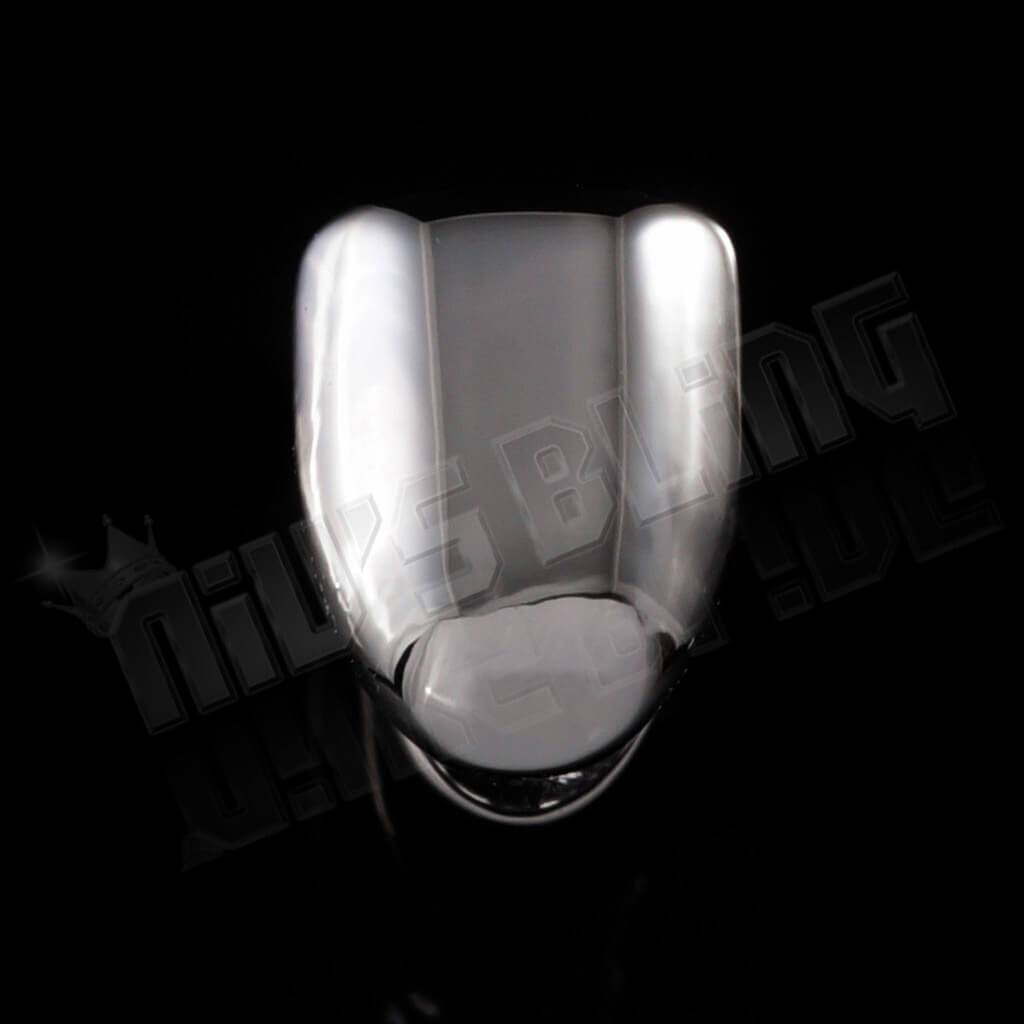 Affordable Silver Single Tooth Bottom Hip Hop Grill Cap - Black Background